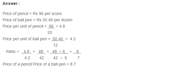 Ratio Proportion and Unitary Method RS Aggarwal Class 6 Maths Solutions Ex 10A 1.18