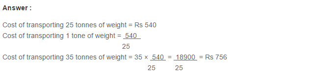 Ratio Proportion and Unitary Method RS Aggarwal Class 6 Maths Solutions Ex 10C 7.1