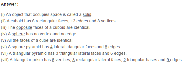 Three Dimensional Shapes RS Aggarwal Class 6 Maths Solutions 7.1