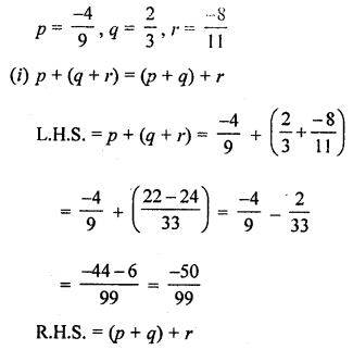 ML Aggarwal Class 8 Solutions for ICSE Maths Chapter 1 Rational Numbers Check Your Progress Q11.1