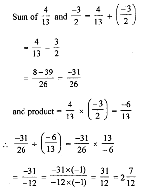 ML Aggarwal Class 8 Solutions for ICSE Maths Chapter 1 Rational Numbers Check Your Progress Q5.1