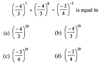 ML Aggarwal Class 8 Solutions for ICSE Maths Chapter 2 Exponents and Powers Objective Type Questions Q7.1