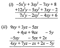 ML Aggarwal Class 8 Solutions for ICSE Maths Chapter 10 Algebraic Expressions and Identities Check Your Progress Q1.1
