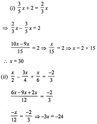 ML Aggarwal Class 8 Solutions for ICSE Maths Chapter 12 Linear Equations and Inequalities in one Variable Check Your Progress Q1.2