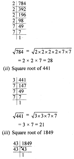 ML Aggarwal Class 8 Solutions for ICSE Maths Chapter 3 Squares and Square Roots Ex 3.3 Q2.1