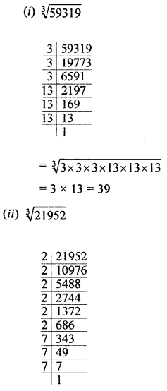 ML Aggarwal Class 8 Solutions for ICSE Maths Chapter 4 Cubes and Cube Roots Check Your Progress Q3.1
