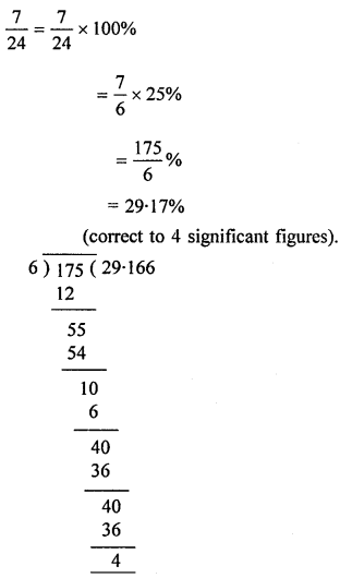 ML Aggarwal Class 8 Solutions for ICSE Maths Chapter 7 Percentage Check Your Progress Q1.1