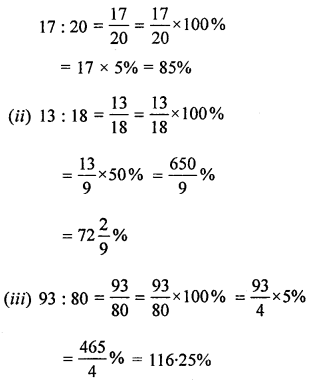 ML Aggarwal Class 8 Solutions for ICSE Maths Chapter 7 Percentage Ex 7.1 Q5.1
