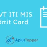 NCVT ITI MIS Admit Card