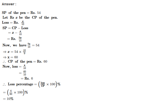 Profit and Loss RS Aggarwal Class 8 Maths Solutions Ex 10A 18.1