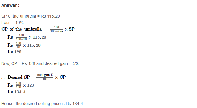 Profit and Loss RS Aggarwal Class 8 Maths Solutions Ex 10A 28.1