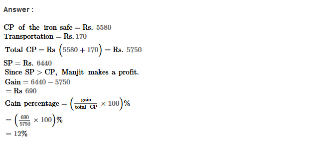 Profit and Loss RS Aggarwal Class 8 Maths Solutions Ex 10A 5.1