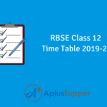 RBSE Class 12 Time Table