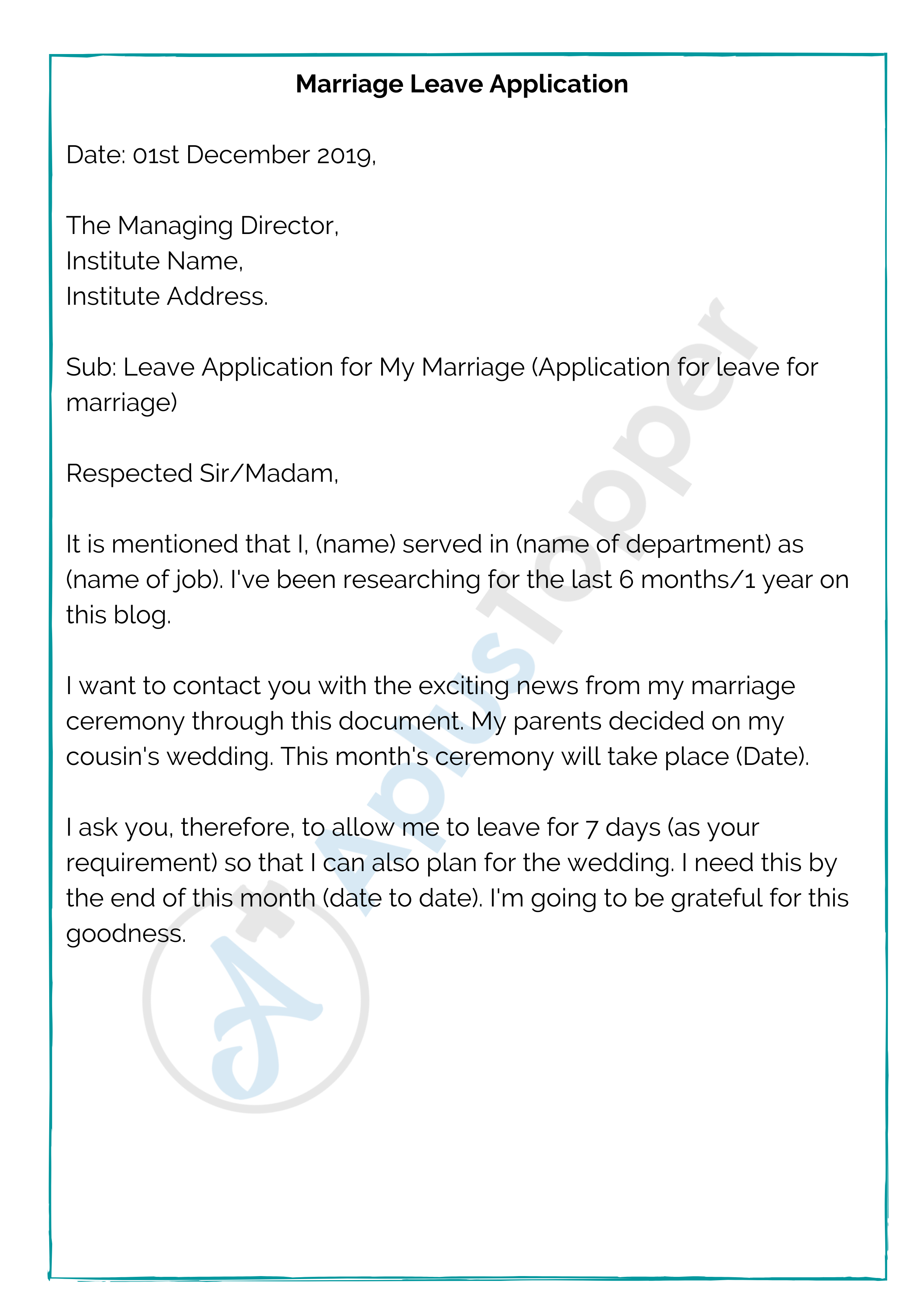 Marriage Leave Application