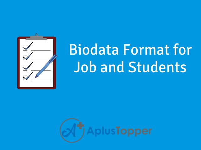 Biodata Format Biodata Sample For Job How To Write Biodata A Plus Topper