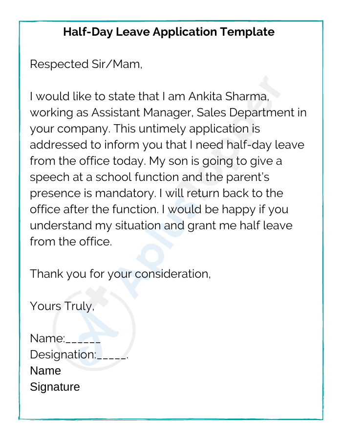 Half-Day Leave Application Template