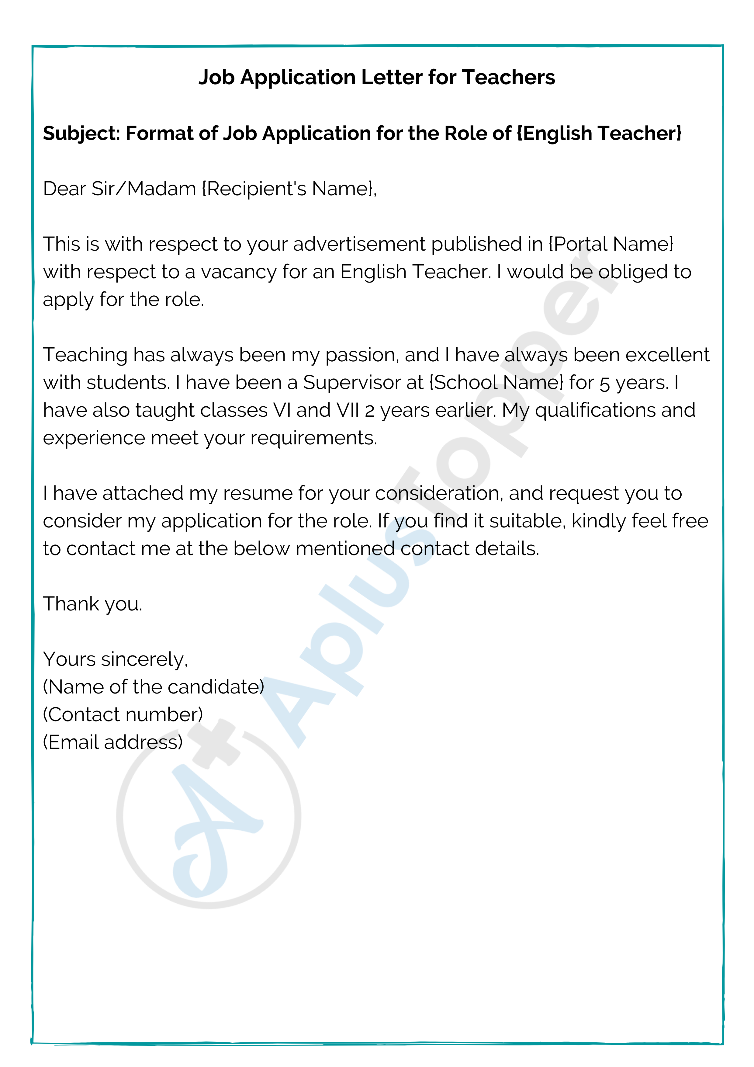 Job Application Format How To Write A Job Application Letter Samples Format A Plus Topper