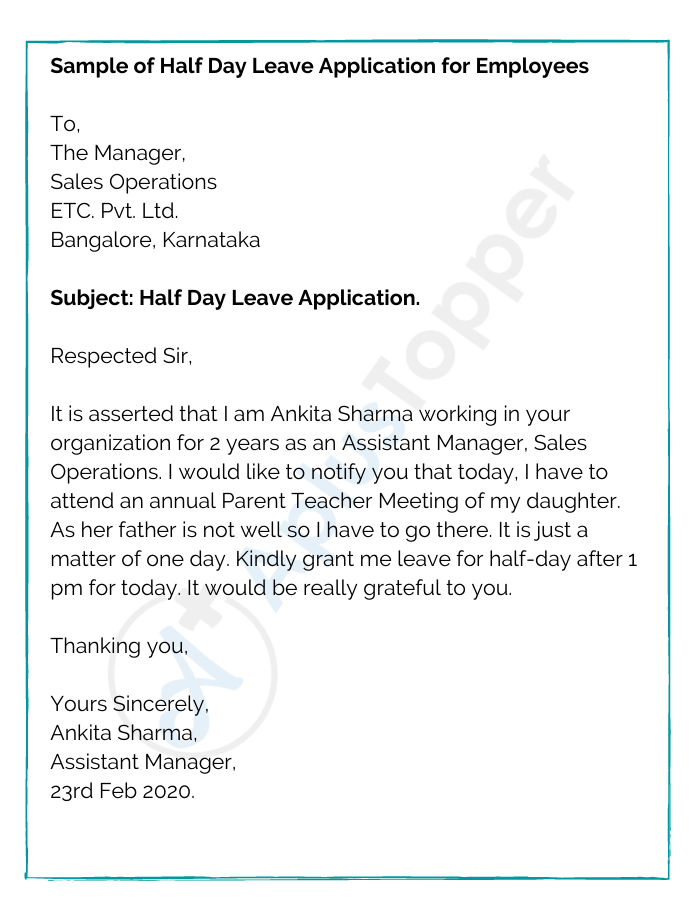 Sample of Half Day Leave Application for Employees