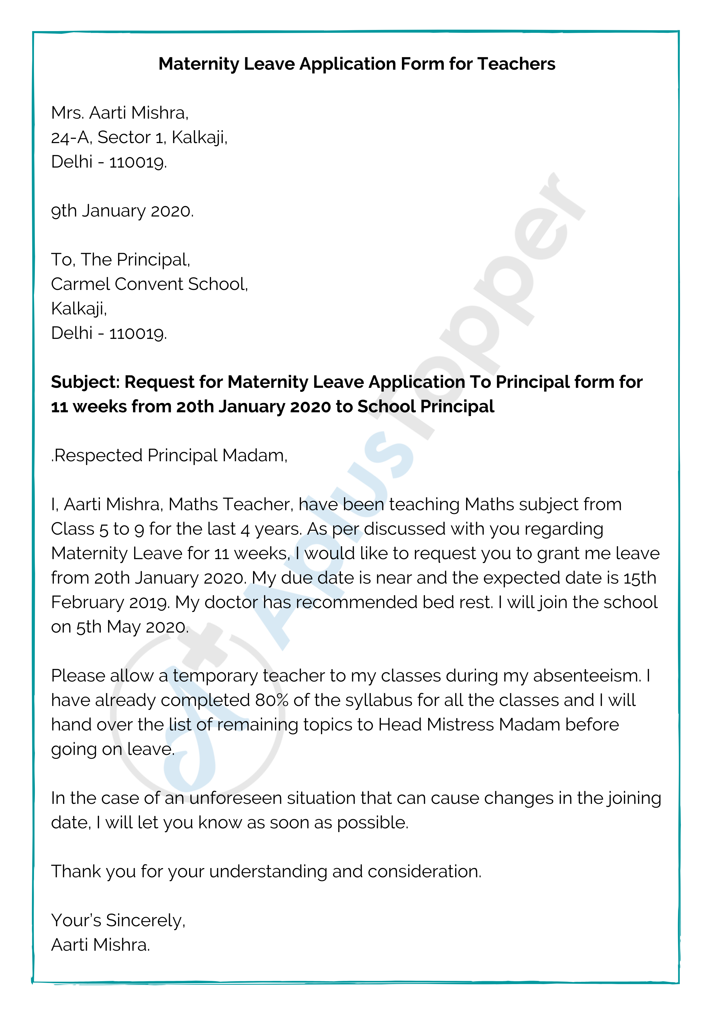 Maternity Leave Application Form for Teachers