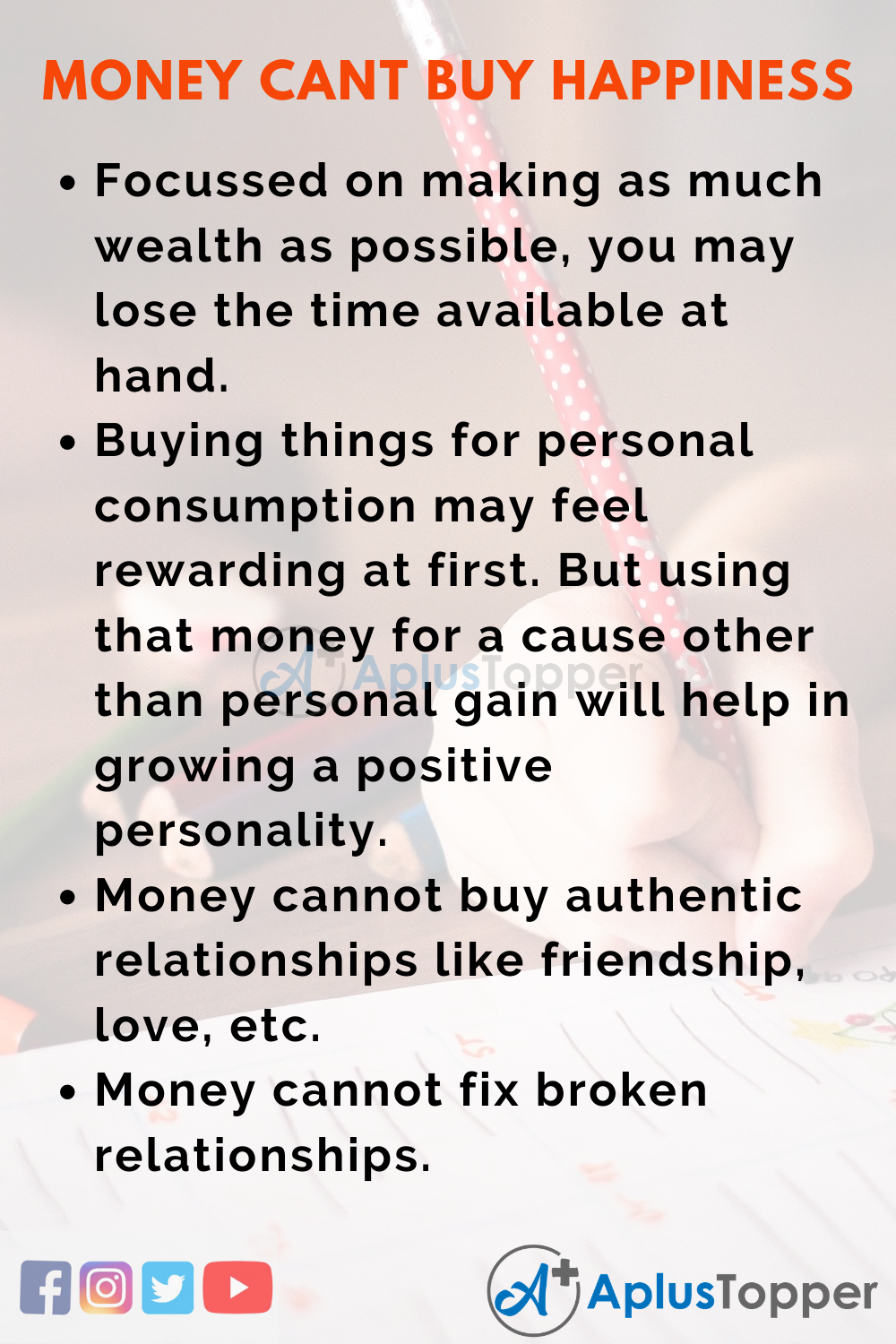 10 Lines Essay on Money Can't Buy Happiness in English