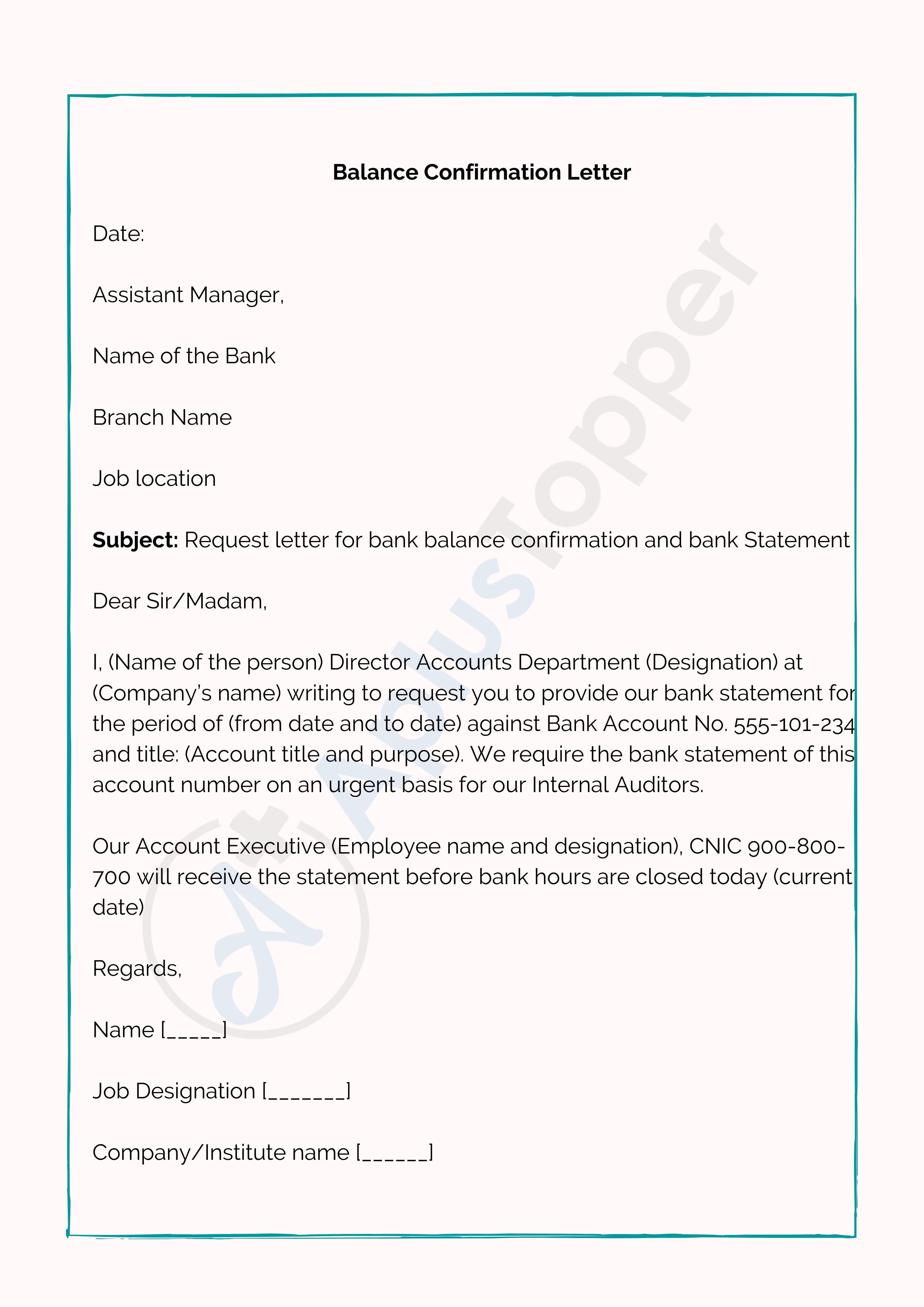 Balance Confirmation Letter