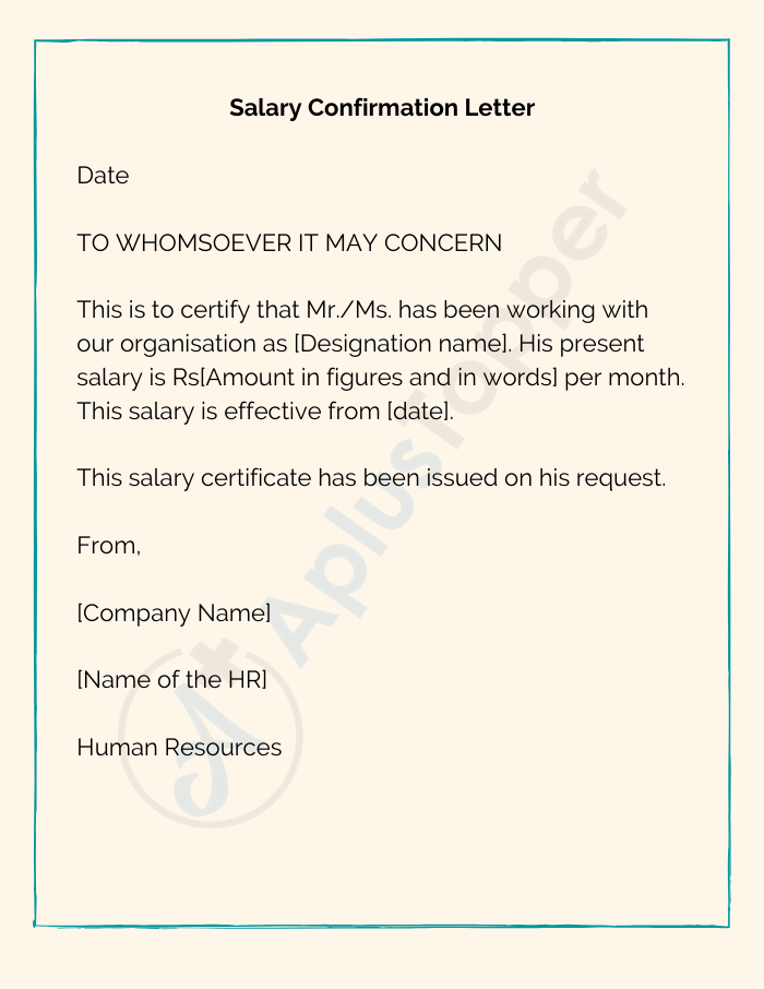 Confirmation Letter of Salary