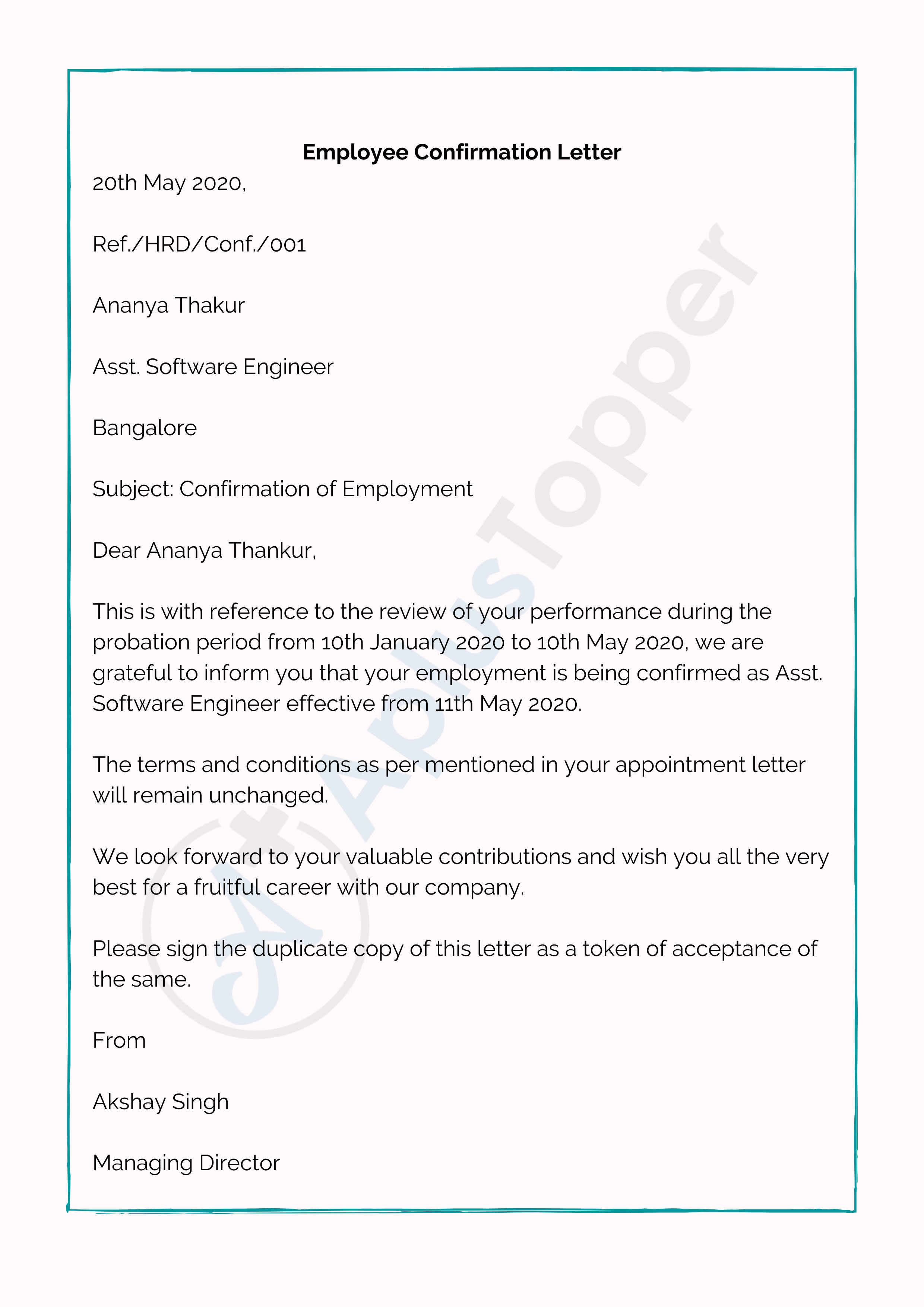 Employee Confirmation Letter