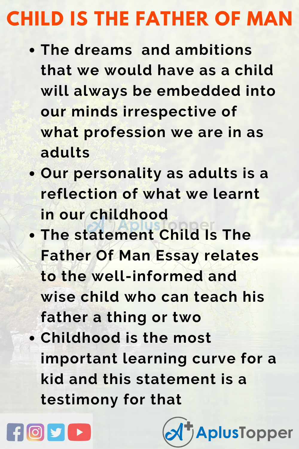 Essay About Child Is The Father Of Man