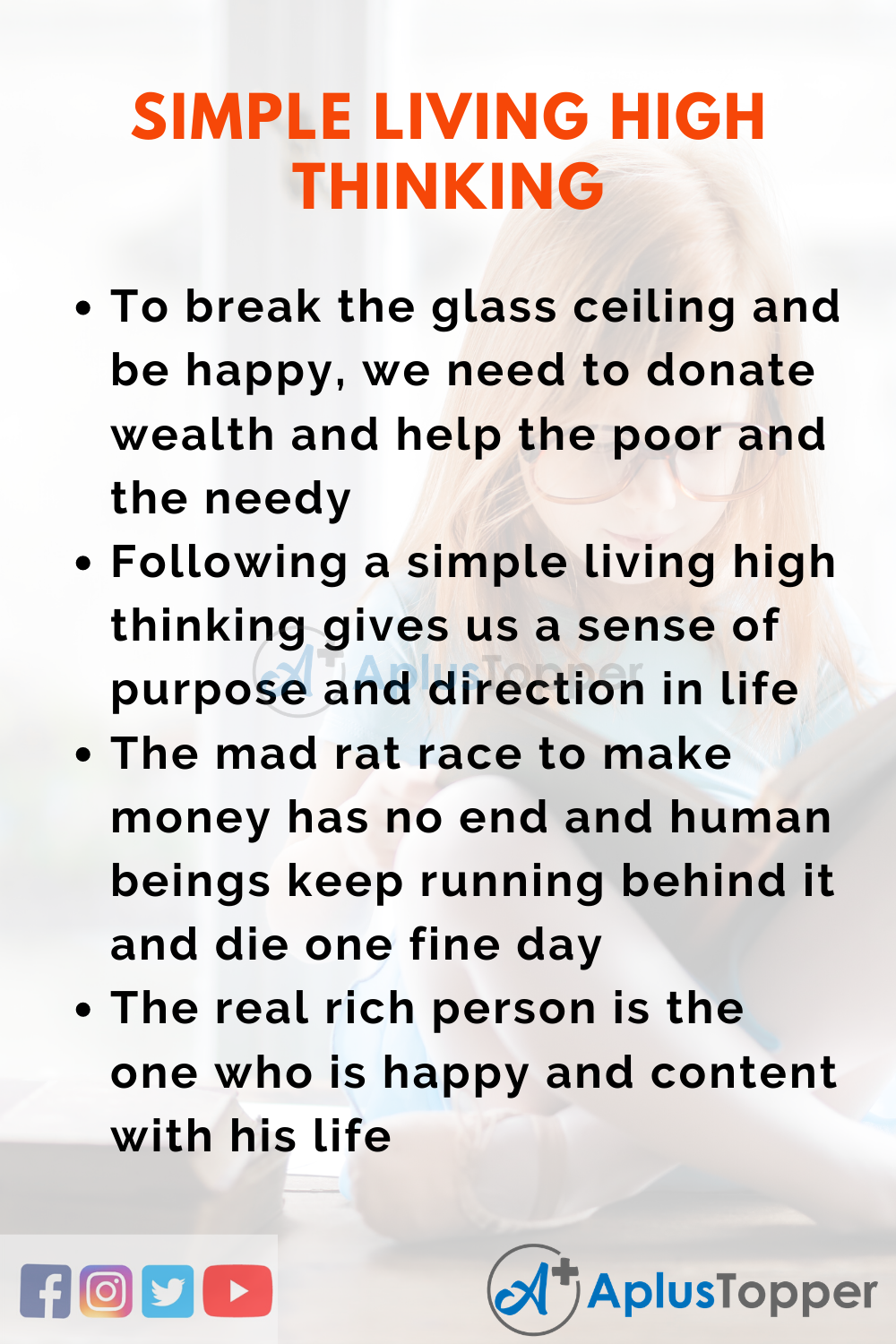 Essay About Simple Living High Thinking