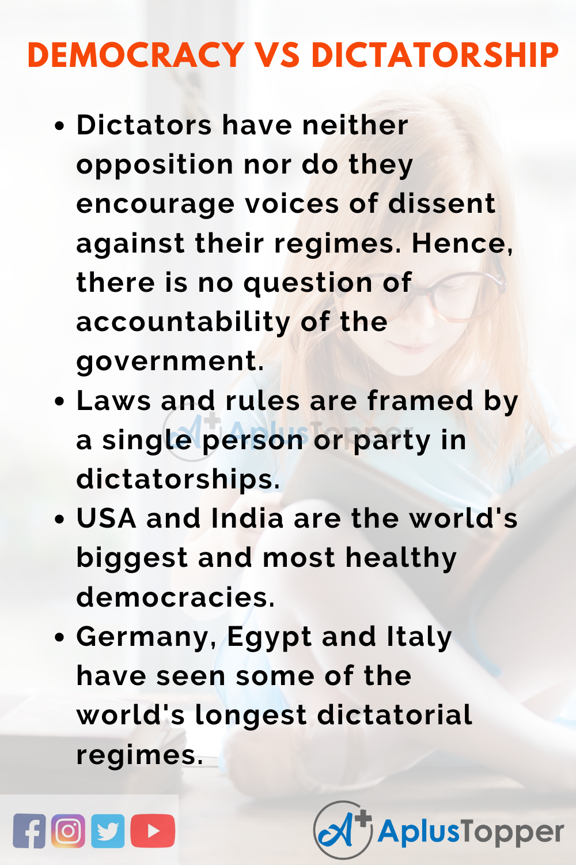 Essay about Democracy Vs Dictatorship