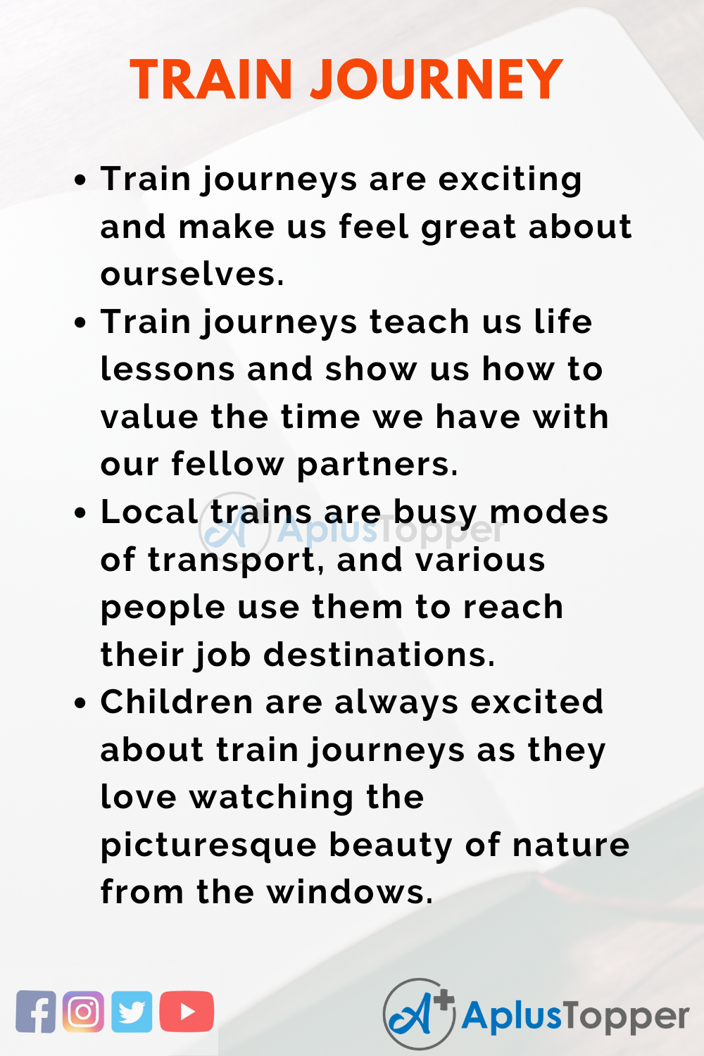 Essay about Journey by Train