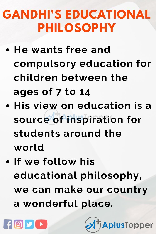 Essay about Mahatma Gandhi's Educational Philosophy