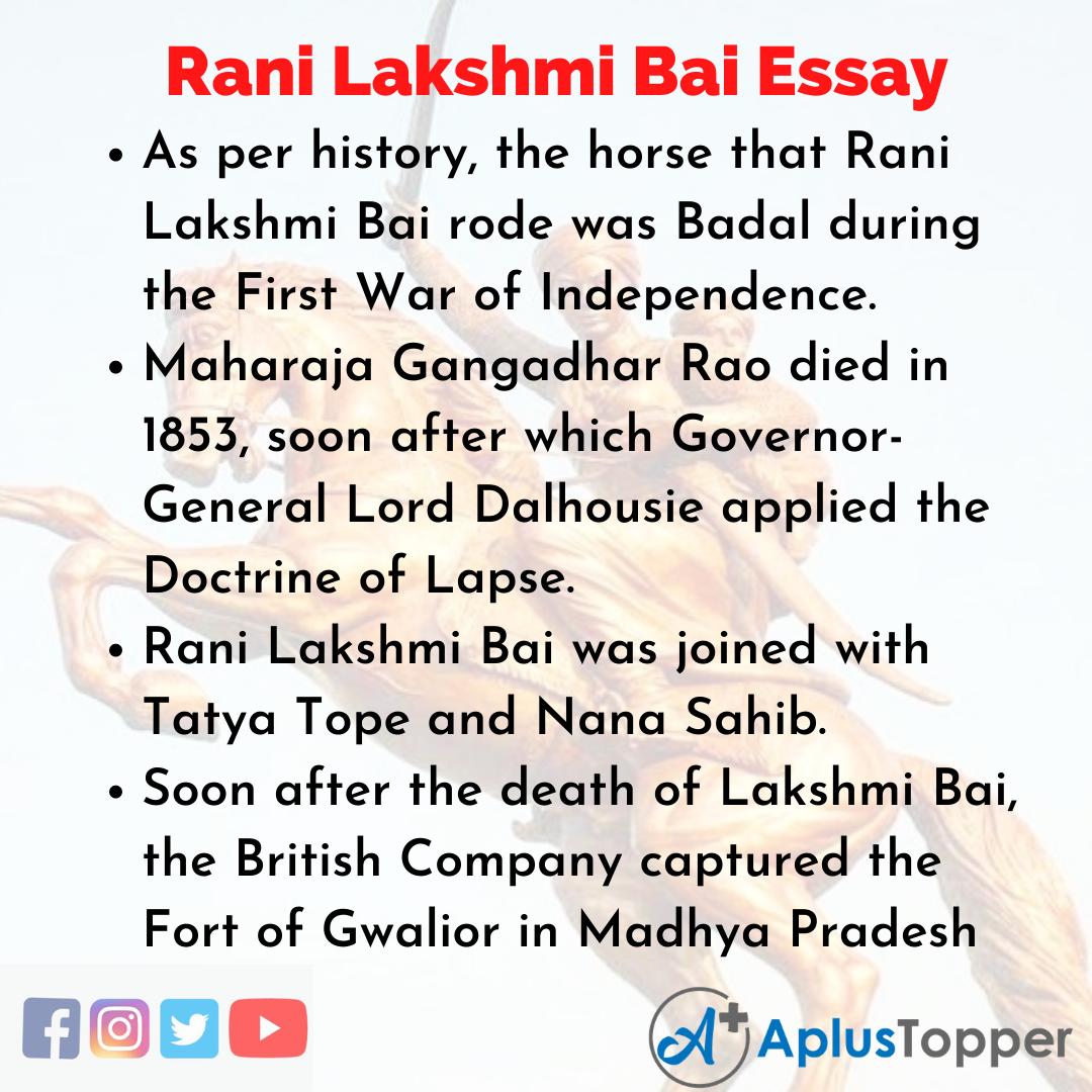 Essay about Rani Lakshmi Bai