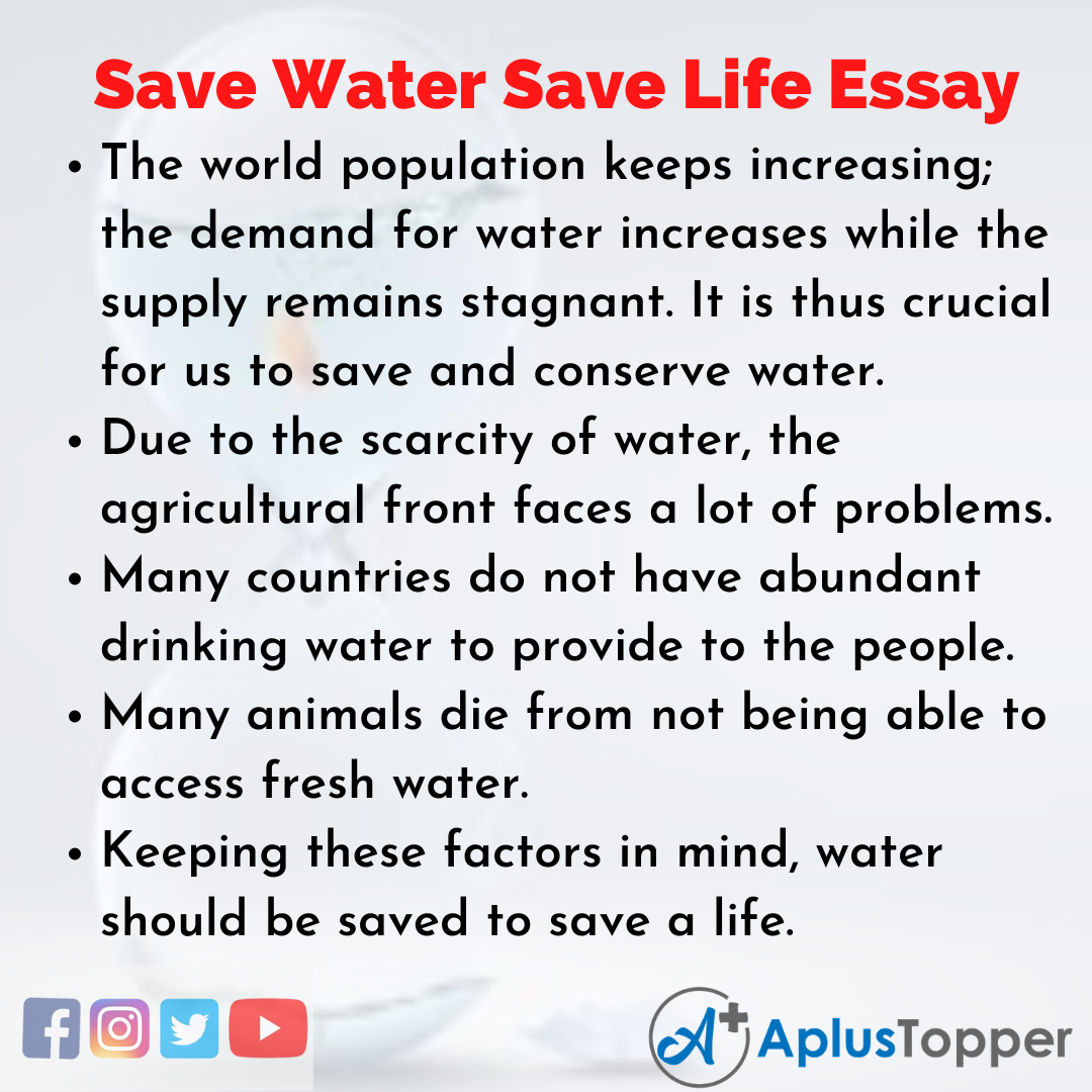Essay about Save Water Save Life