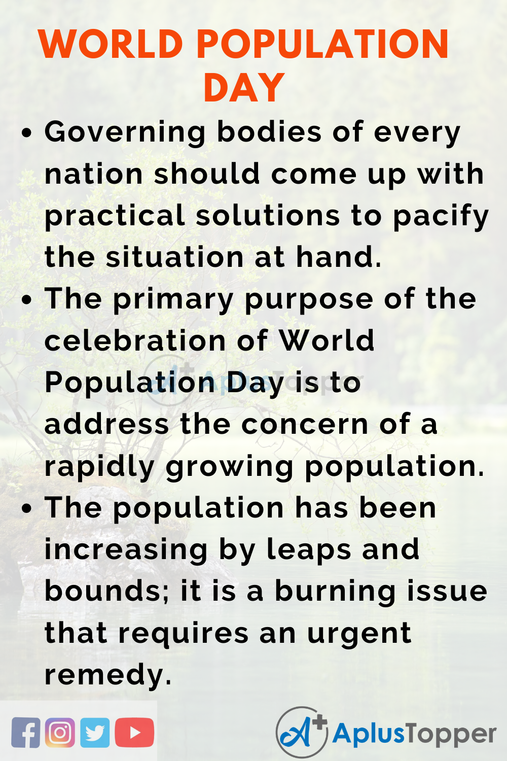 Essay about World Population Day