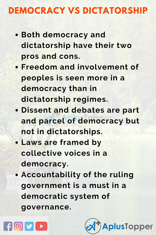 Essay on Democracy Vs Dictatorship
