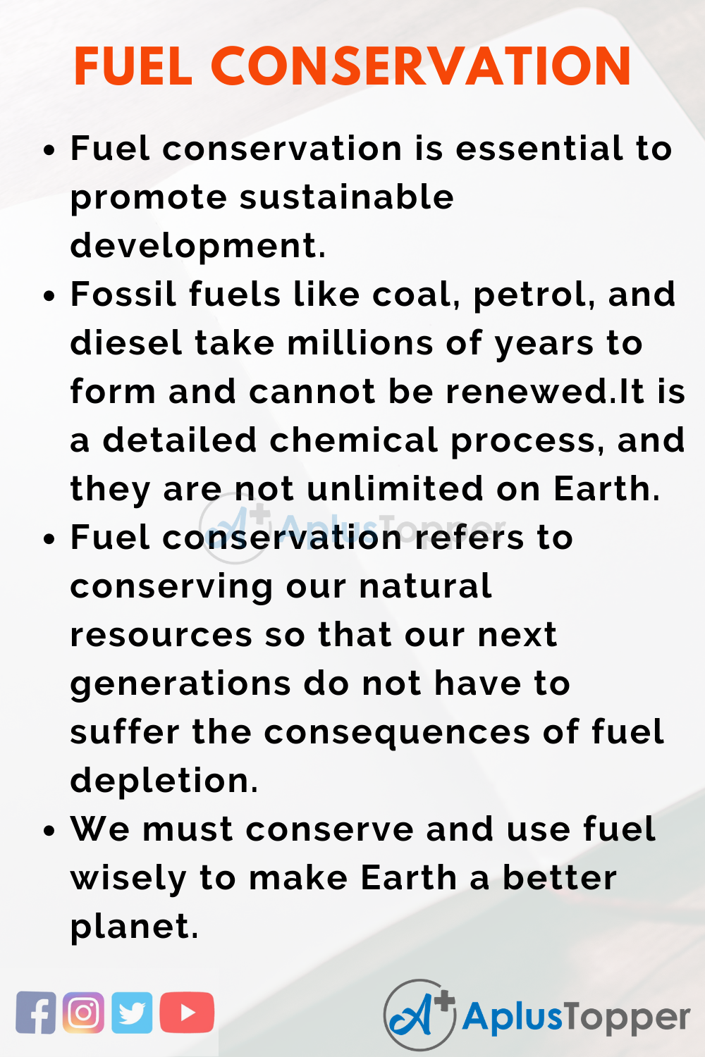 Essay on Fuel Conservation