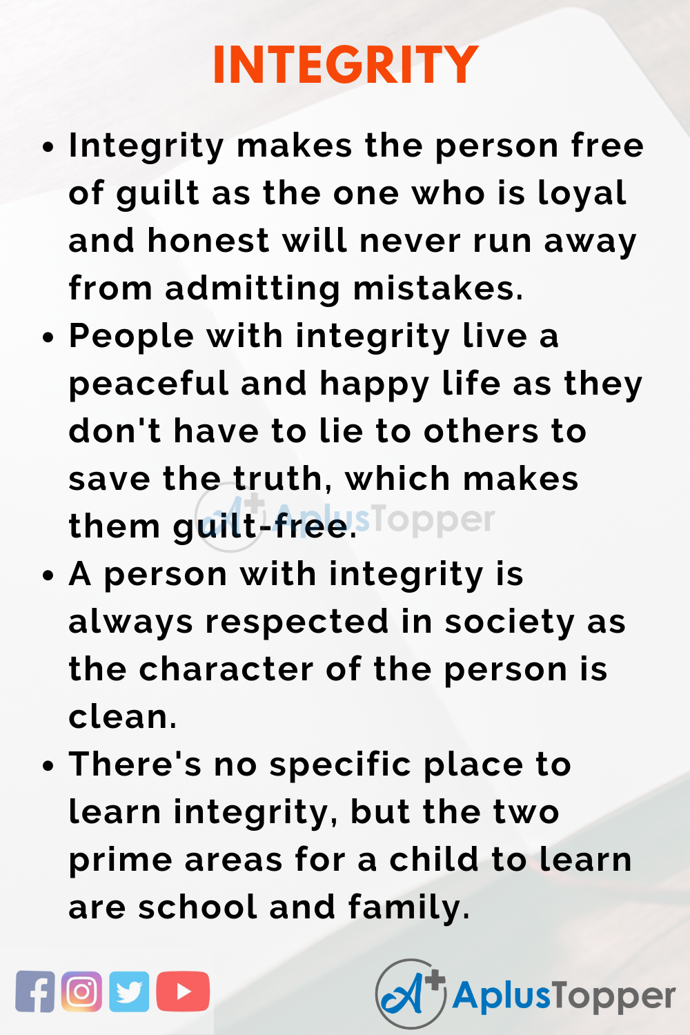 Essay on Integrity