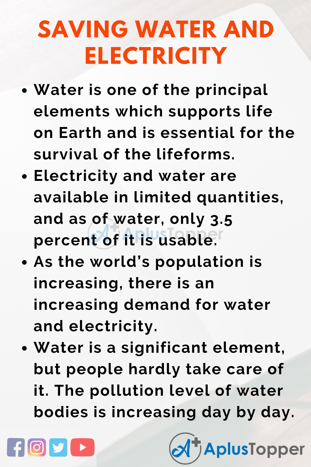 Essay on Saving Water and Electricity