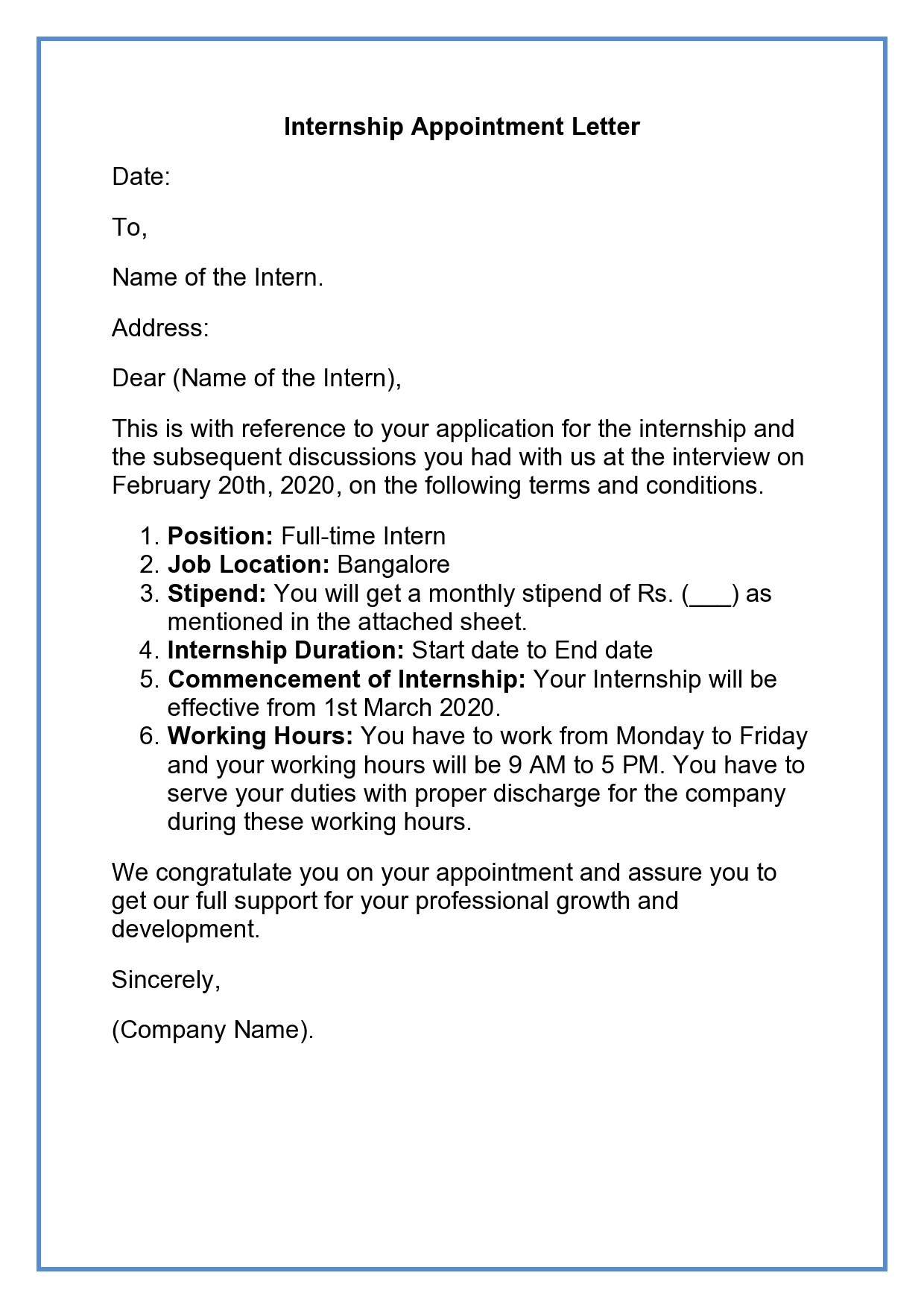 Internship Appointment Letter