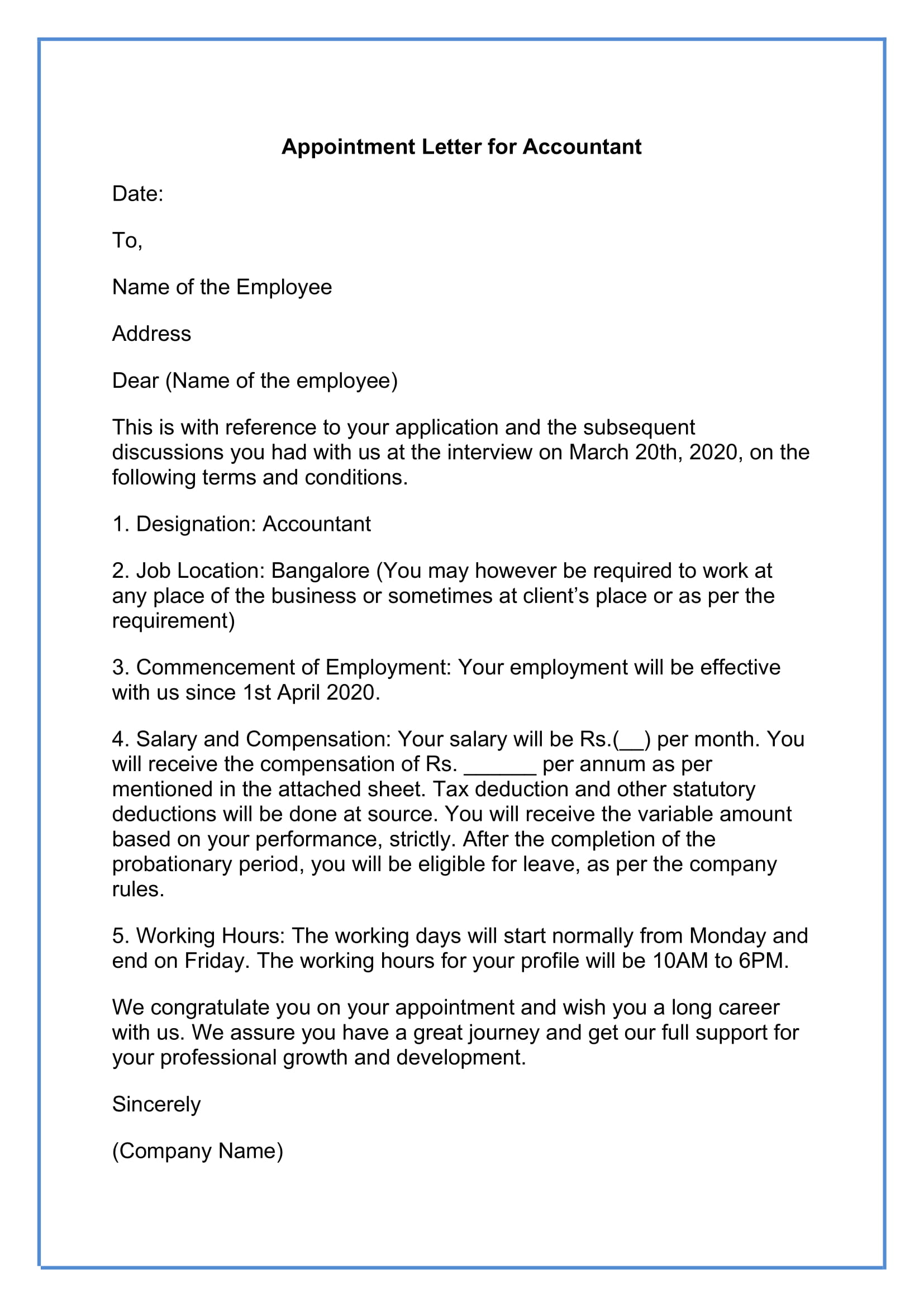 Job Appointment Letter for Accountant