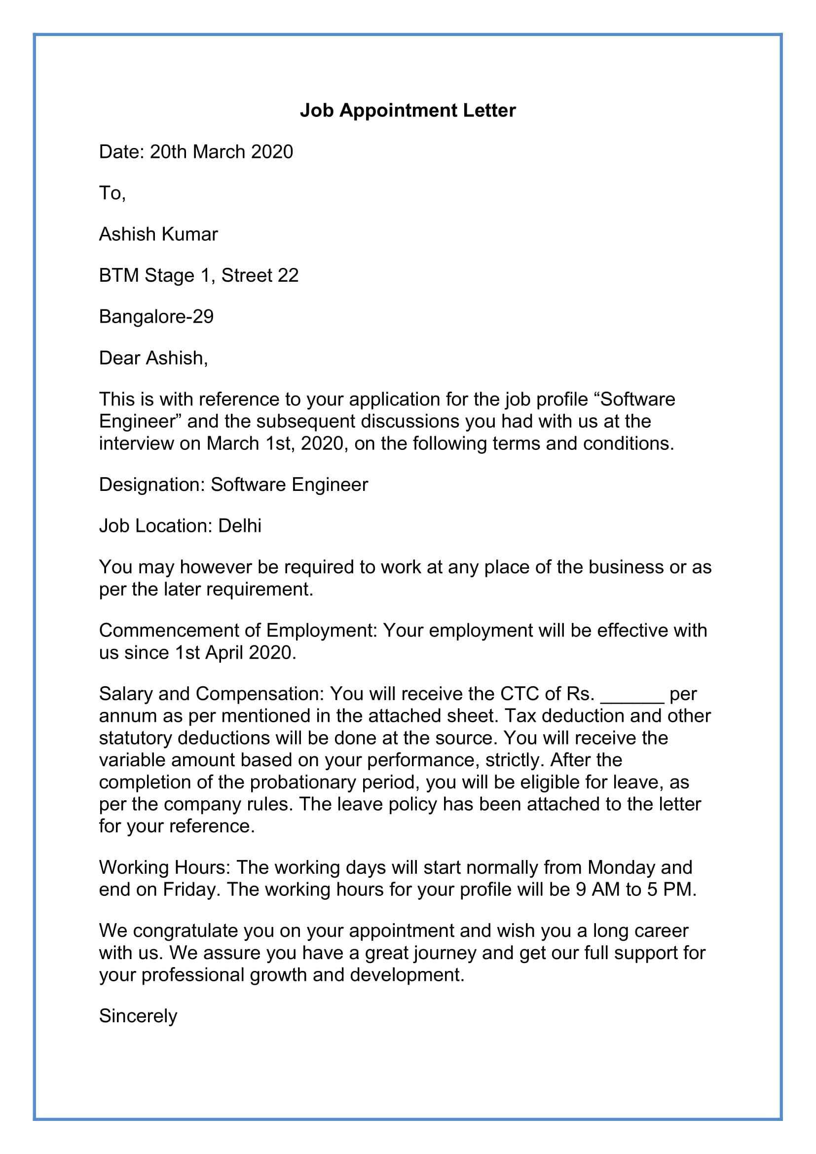 Job Appointment Letter