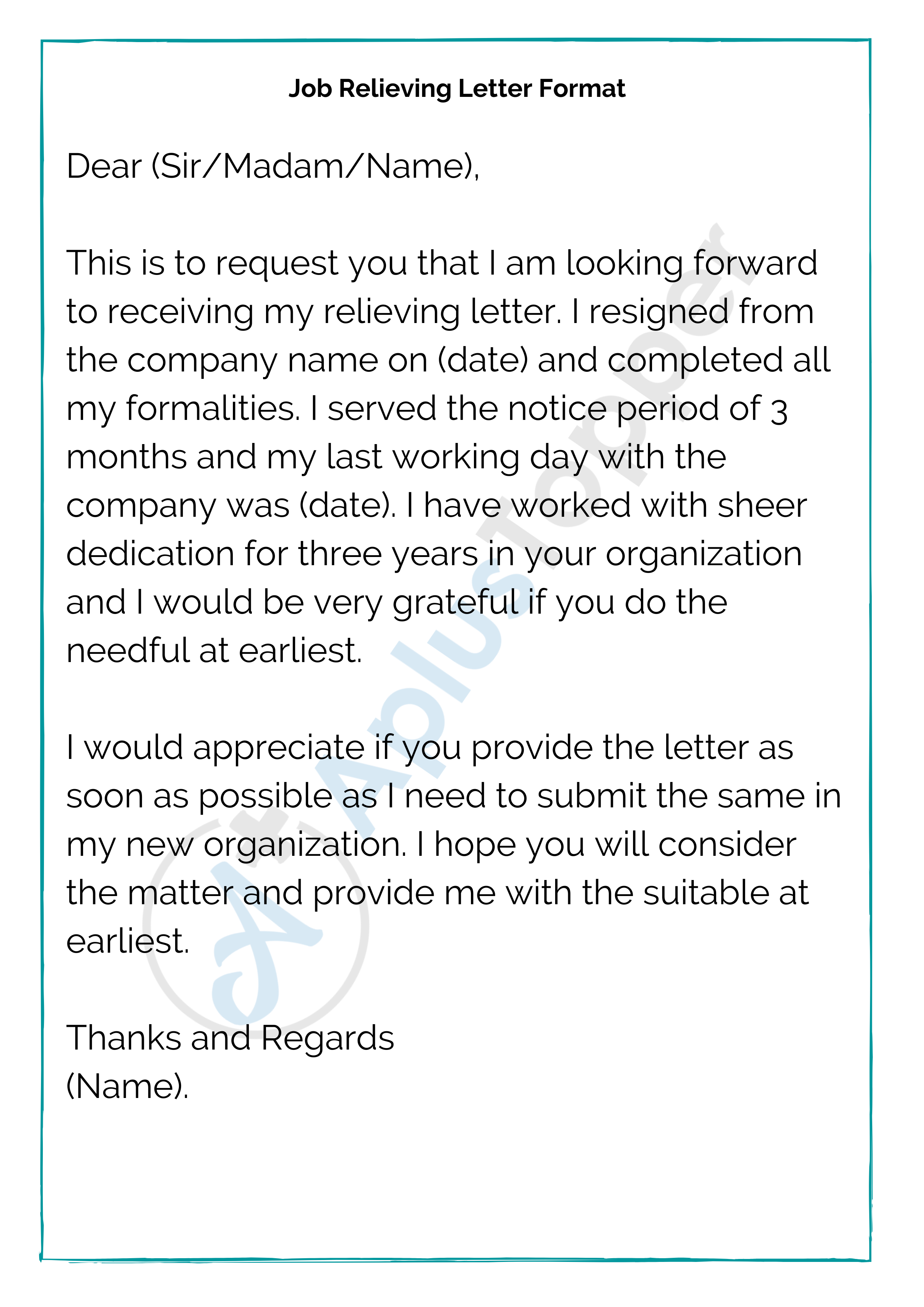 Relieving Letter Format