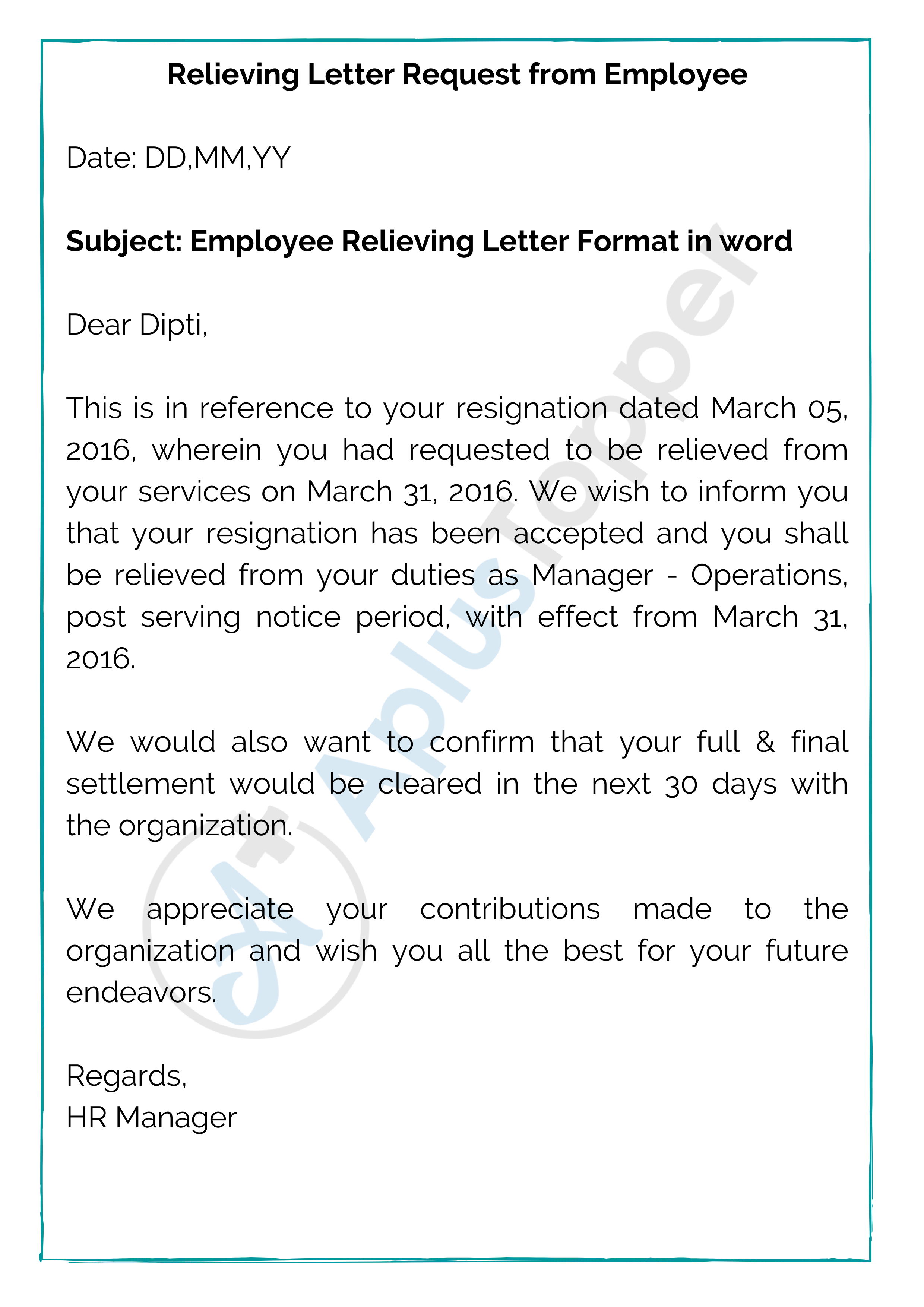 Relieving Letter Request from Employee