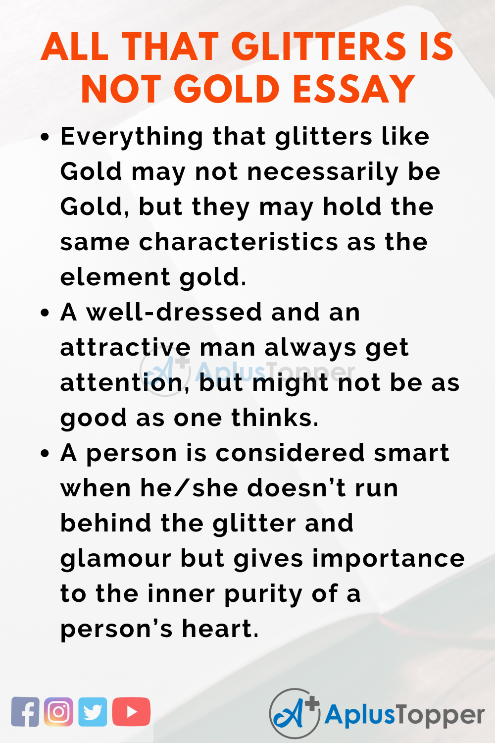Short Essay on All that Glitters is not Gold Essay 200 Words