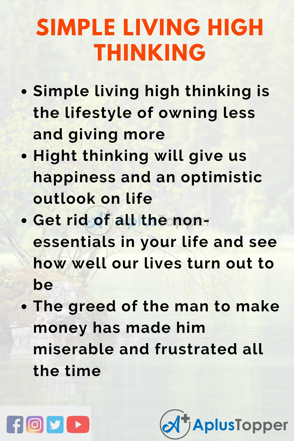 Simple Living High Thinking