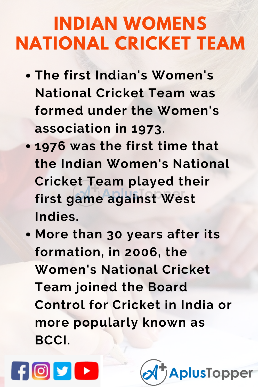 10 Lines On Indian Women's National Cricket Team for Kids
