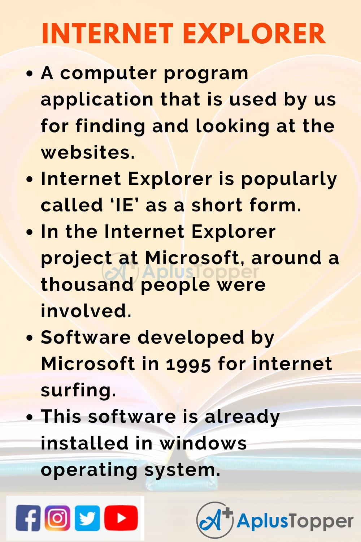 10 Lines On Internet Explorer for Kids