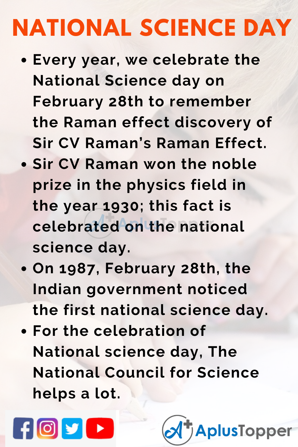10 Lines On National Science Day for Kids