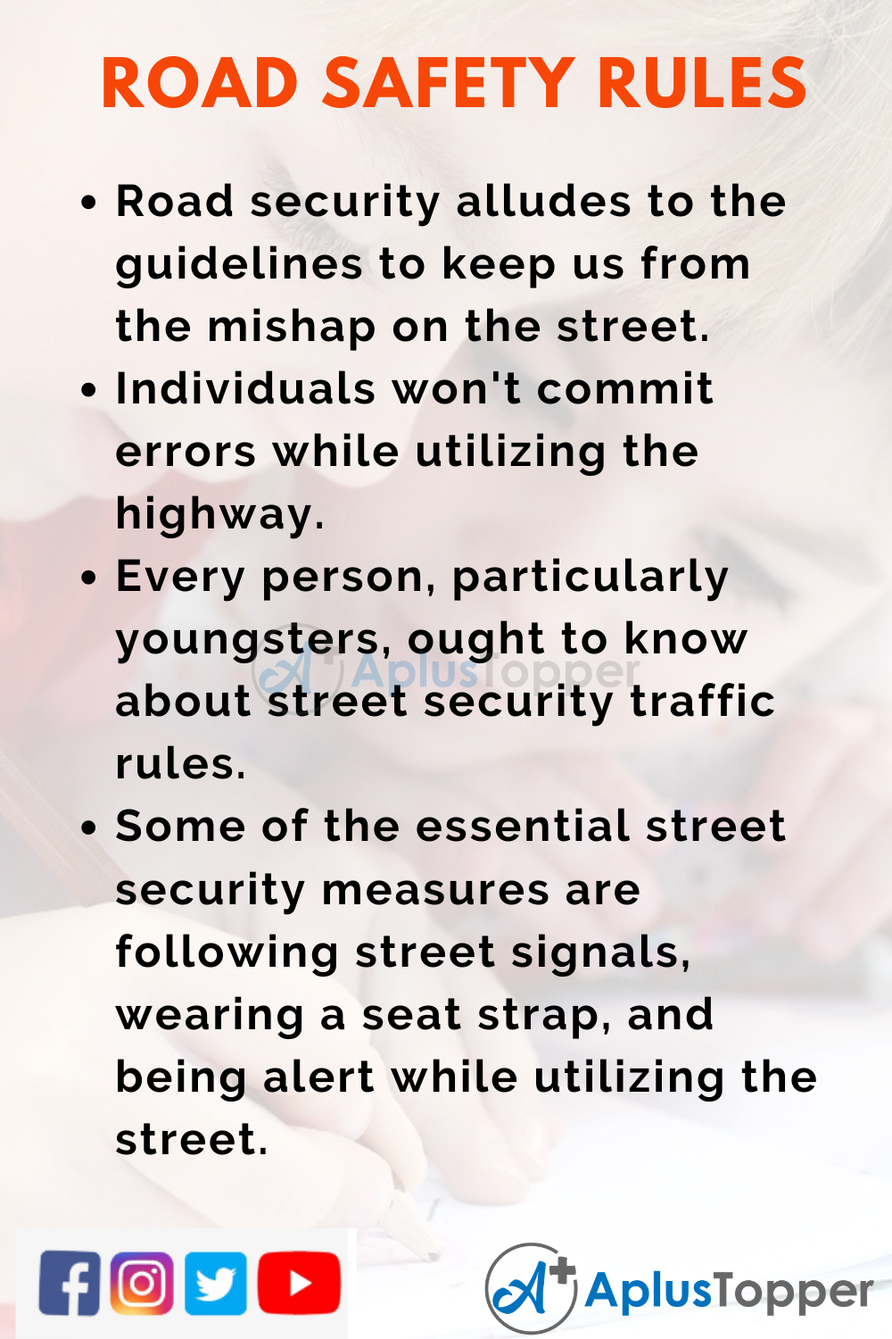 10 Lines On Road Safety Rules for Kids